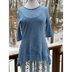 Simply Noelle Blue Lacey Layered Tunic -Size S/M